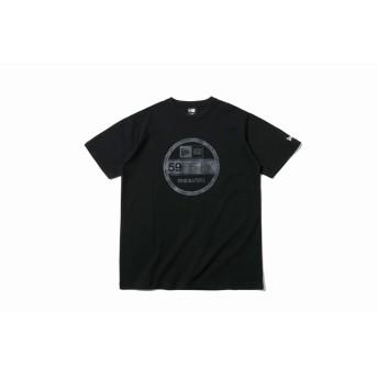 NEW ERA ニューエラ コットン Tシャツ タイガーストライプカモグレー バイザーステッカー ブラック 半袖 ウェア メンズ レディース Large 12108178 NEWERA
