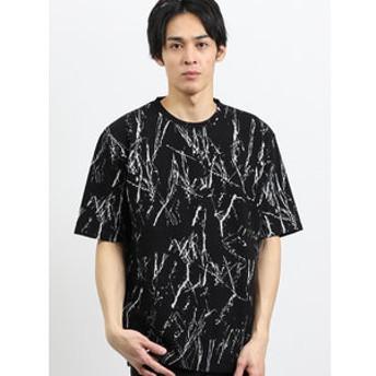 【semantic design:トップス】飛ばし柄ジャガード クルーネック半袖Tシャツ