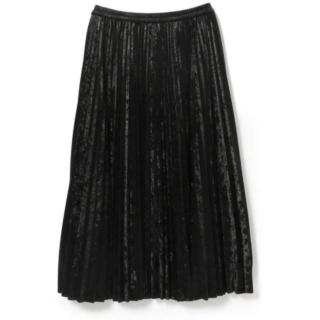 ビームス ウィメン Ray BEAMS / ベロア プリーツ ロング スカート レディース BLACK 1 【BEAMS WOMEN】