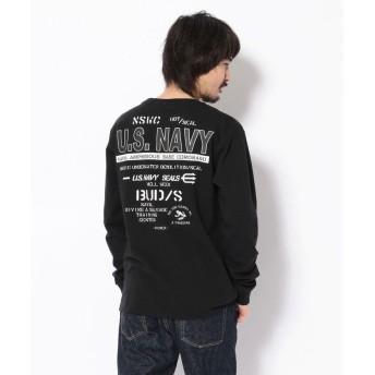 アヴィレックス USネイビークルーネックTシャツ/US NAVY PRINT T SHIRT メンズ BLACK XXL 【AVIREX】