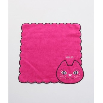 アナスイ 猫顔スカラップ タオルハンカチーフ レディース ピンク FREE 【ANNA SUI】