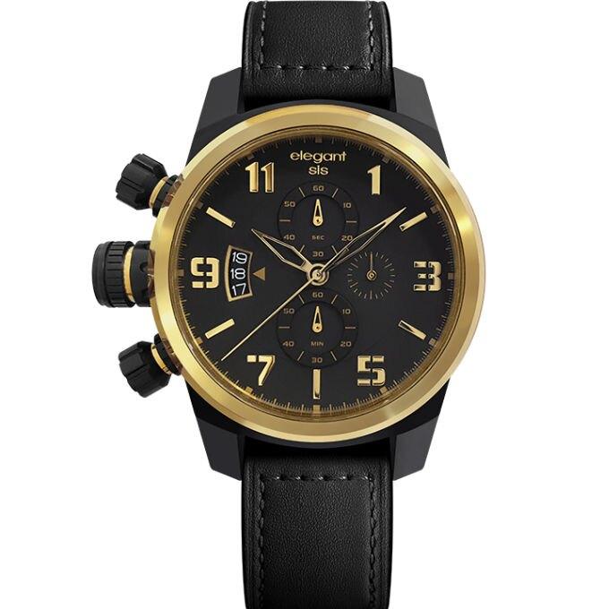 elegantsis 愛樂時 狙擊戰地情人三環小牛皮腕錶 黑色x金色 43mm ELJT48S-OG07LC
