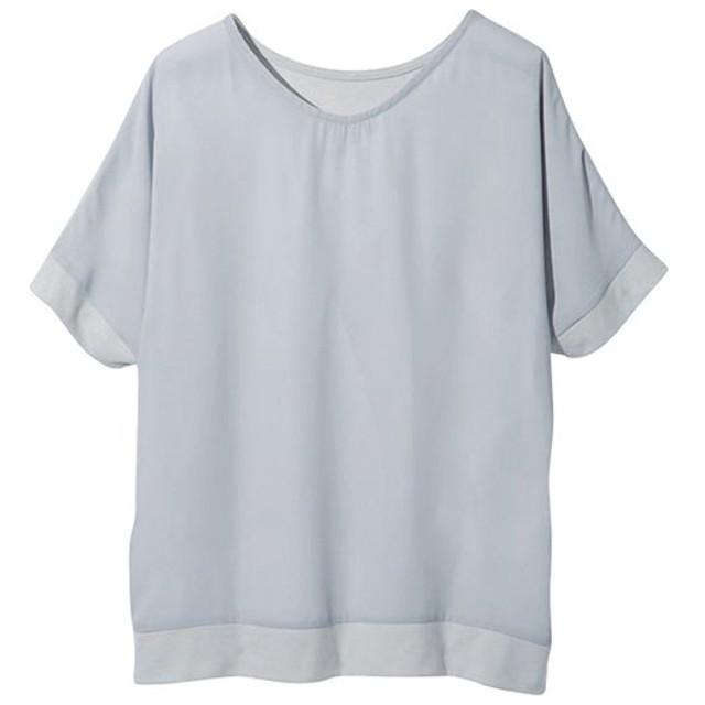 Ranan ラナン 異素材切替ゆったりブラウスTシャツ