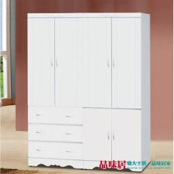 品味居 卡比夫 法式白5.1尺六門三抽衣櫃/收納櫃組合(吊衣桿+穿衣鏡)