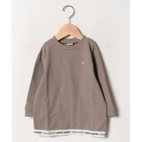 (petit main/プティマイン)裾ゴムロゴTシャツ/レディース モカブラウン