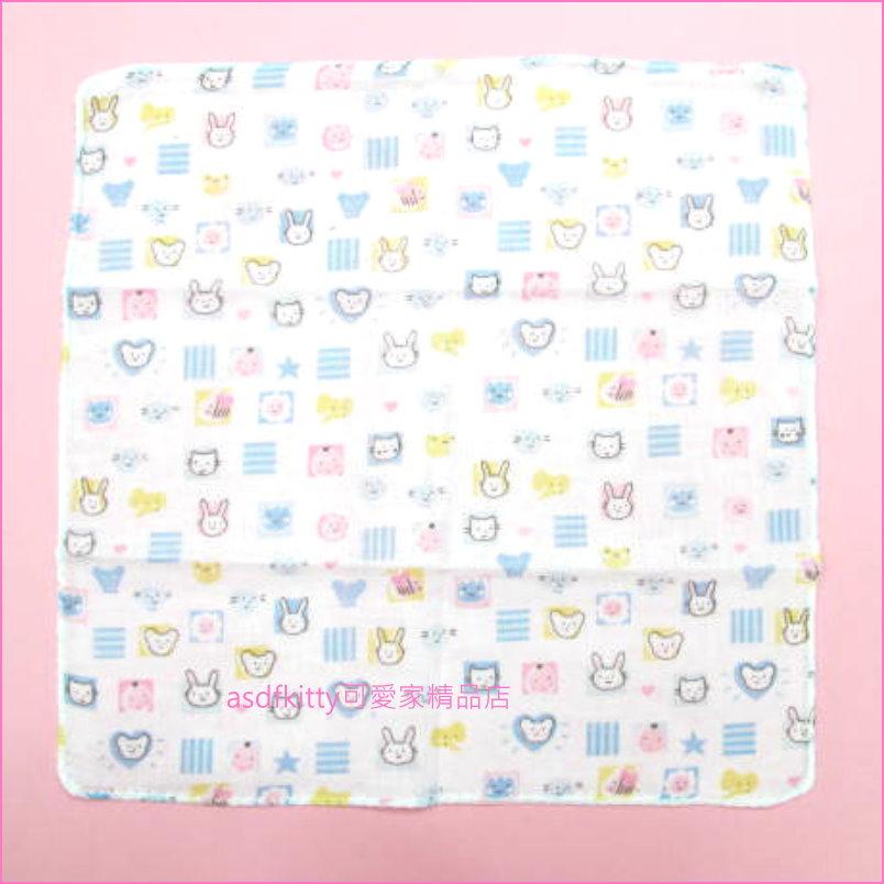 asdfkitty可愛家☆日本製-純棉麻紗手帕-30*30公分-藍條紋動物款