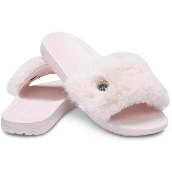 【クロックス公式】 クロックス スローン ラックス スライド ウィメン Women's Crocs Sloane Luxe Lined Slide ウィメンズ、レディース、女性用 ピンク/ピンク 21cm,22cm,23cm,24cm,25cm slide スライドサンダル スポーツサンダル シャワーサンダル サンダル