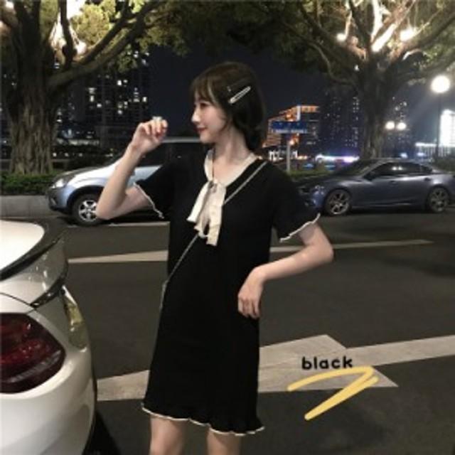 きれいめワンピース 2色 ブラック ホワイト リボン 半袖 上品 エレガント フォーマル ツートンカラー ミニワンピース サマードレス