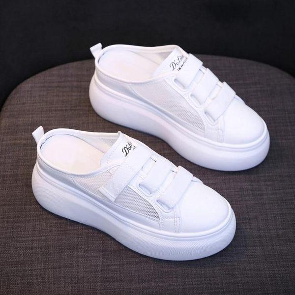 鞋子女夏款潮鞋懶人網紅百搭鬆糕厚底內增高一腳蹬半拖小白鞋 朵拉朵衣櫥