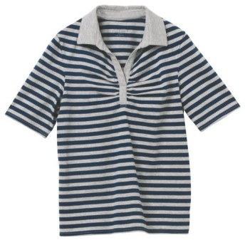 50%OFF【レディース】 綿100%襟付きTシャツ(半袖) - セシール ■カラー:ボーダーC(ネイビー×杢グレー) ■サイズ:M,3L,4L-5L,L,LL