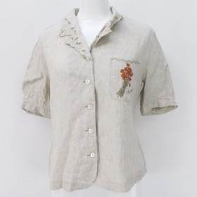 【中古】バーバリーズ Burberrys 半袖 シャツ ブラウス 7R ベージュ 花 刺繍 ボタン レディース