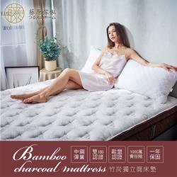 藤原傢俬 高澎度竹炭紗獨立筒床墊-雙人加大(6尺)