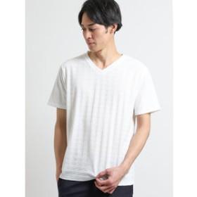 【m.f.editorial:トップス】リンクスジャガード千鳥柄 Vネック半袖Tシャツ