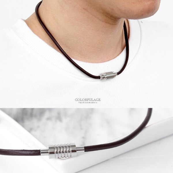 極簡磁鐵頭鋼製皮革項圈【NB785】柒彩年代