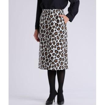 7-ID concept レオパード柄ジャガードタイトスカート ひざ丈スカート,柄大7