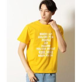 (COMME CA ISM/コムサイズム)メッセージプリント半袖Tシャツ/ユニセックス イエロー