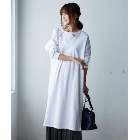綿100%裏毛サイドスリット入ロング丈ワンピース (ワンピース),dress