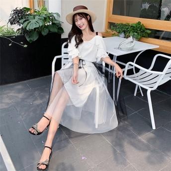 【夏先行即納SALE 】 今季トレンド 韓国ファッション 半袖ワンピース 2点セット レースアップ 引き紐 チュール フレアスリーブ通勤 OL 女性美UP↑【大きいサイズあり】