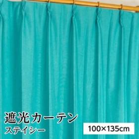 遮光カーテン サンシェード 2枚組 / 100cm×135cm ブルー / 無地 シンプル 洗える 形状記憶 『ステイシー』 九装