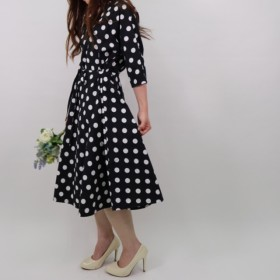 【POLKA DOT DRESS】color: black