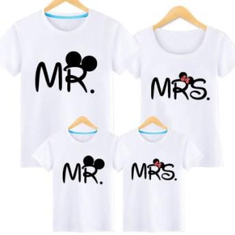 親子ペア ディズニー ミッキーマウス t シャツ 韓国 レディースファッション ママと娘 おそろい服 親子服 家族お母さん子 父と息子 お揃い服 ペアルックカップル 子供服