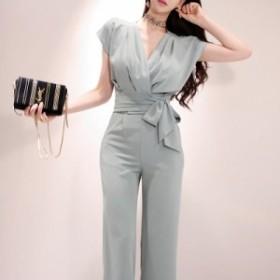 送料無料 パンツドレス パーティードレス セパレート セットアップ ゆったりサイズ 袖あり ウエストリボン