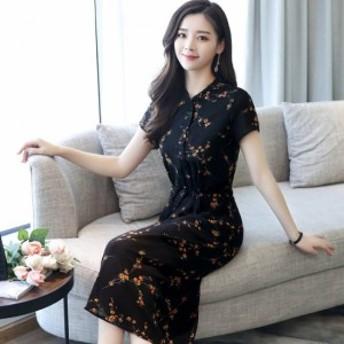 ワンピース ひざ下丈 ドレス 半袖 シフォン リボン 花柄 小花柄 柄 透け感 スタンドカラー ハイネック 大きいサイズ 大人可