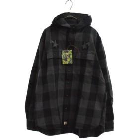A BATHING APE(アベイシングエイプ)バックロゴプリントフード付ブロックチェック柄長袖シャツ グレー ネルシャツ