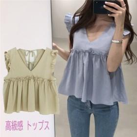 [55555SHOP] 幅広い年代にもおすすめな1枚となっています!!韓国ファッション 夏日 通勤OL 高級感 トップス フリル袖なし シャツ 可愛い ブラウス