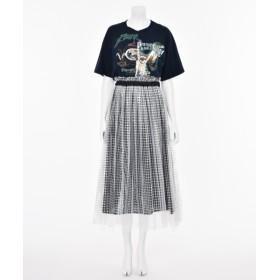 MUVEIL 【MUVEIL】ロックTシャツコンビワンピース ネイビー 38