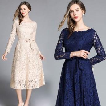 【送料無料】 ウエストリボンがアクセントになったレースドレス パーティードレス 大きいサイズ 結婚式 ドレス 披露宴 二次会 卒業式 ワ