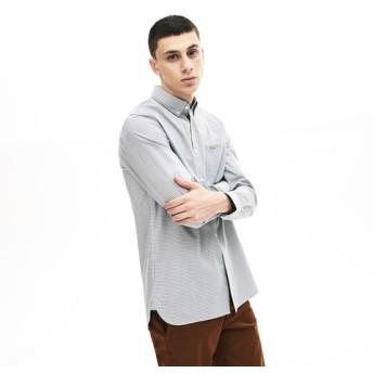 コットンポプリンチェックボタンダウンシャツ