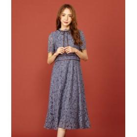 (MIIA/ミーア)レース刺繍バイカラーワンピース/レディース ブルー