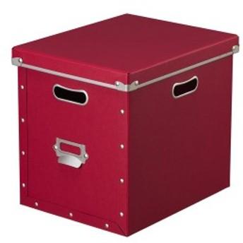 ナカバヤシ 収納ボックス ストックボックス フタ付き Lサイズ レッド FBB-L-R