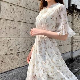 ♪送料無料 夏セール30%割り♪ 2色 韓国可愛い小花柄ウエストフラワーワンピース