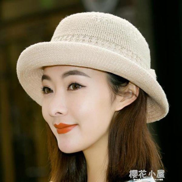 春夏季新款禮帽韓版遮陽帽英倫女士草帽爵士帽出游度假沙灘帽子潮『櫻花小屋』