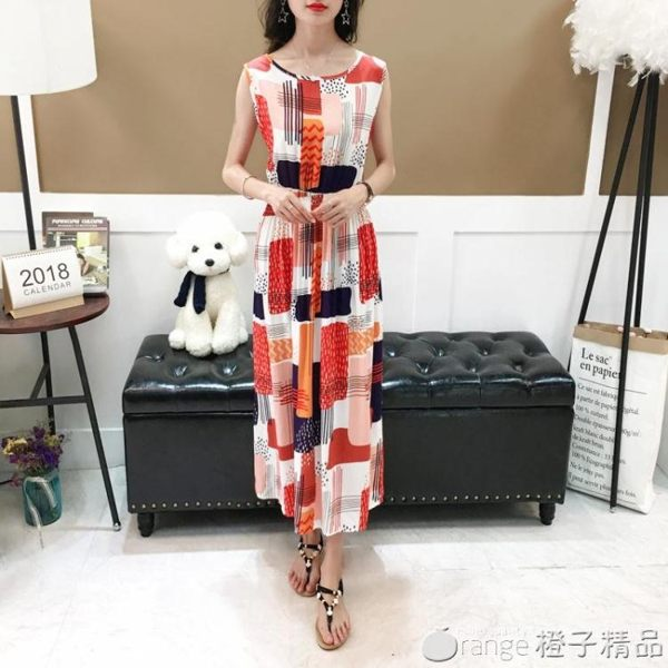 夏季長款大擺印花人造棉無袖背心裙2019渡假波西米亞沙灘洋裝 (橙子精品)