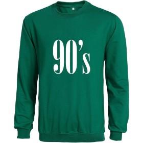 GodeyesW Mens Long Sleeve Solid 90S Print Slim Pullover Outwear Jacket L Green