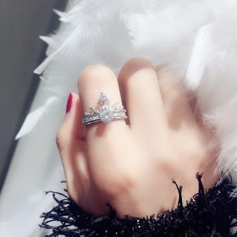 ネコポス送料無料 指輪 リング 2連 フリーサイズ 3way 王冠 モチーフ リング指輪 レディース ジュエリー ストーン付き キラキラ シルバー アクセサリー 誕生日プレゼント プレゼント 女性 結