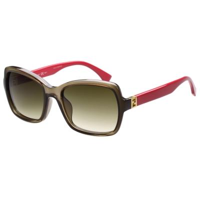 FENDI 時尚太陽眼鏡(透明咖啡+紅腳)
