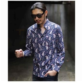 メンズビギ ペイズリー柄イタリアンカラーシャツ メンズ ネイビー M 【Men's Bigi】
