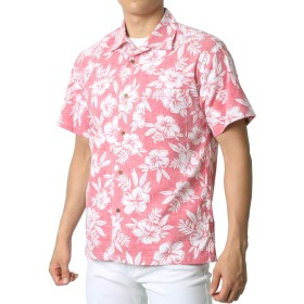 [ルーシャット] アロハシャツ コットン 裏使い 総柄プリントシャツ レンガ M