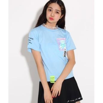 ピンク ラテ(ティーン) 転写テープ付 Tシャツ レディース サックス(090) 15(XS150cm) 【PINK latte (Teen)】
