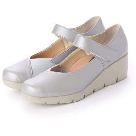 [ITALICO] グレー22cm (全6色) ファーストコンタクト パンプス 靴 日本製 楽ちん 痛くない ストラップ切替デザイン 母の日 ウェッジ コンフォートシューズ 走れる 美脚 厚底 オフィス 通勤