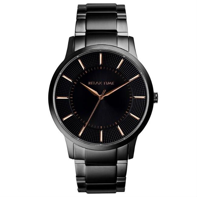 RELAX TIME 入門紳士錶款 (RT-76-3) 黑x玫瑰金 42mm