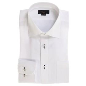 (TAKA-Q/タカキュー)形態安定スリムフィット ワイドカラー長袖シャツ/メンズ ホワイト