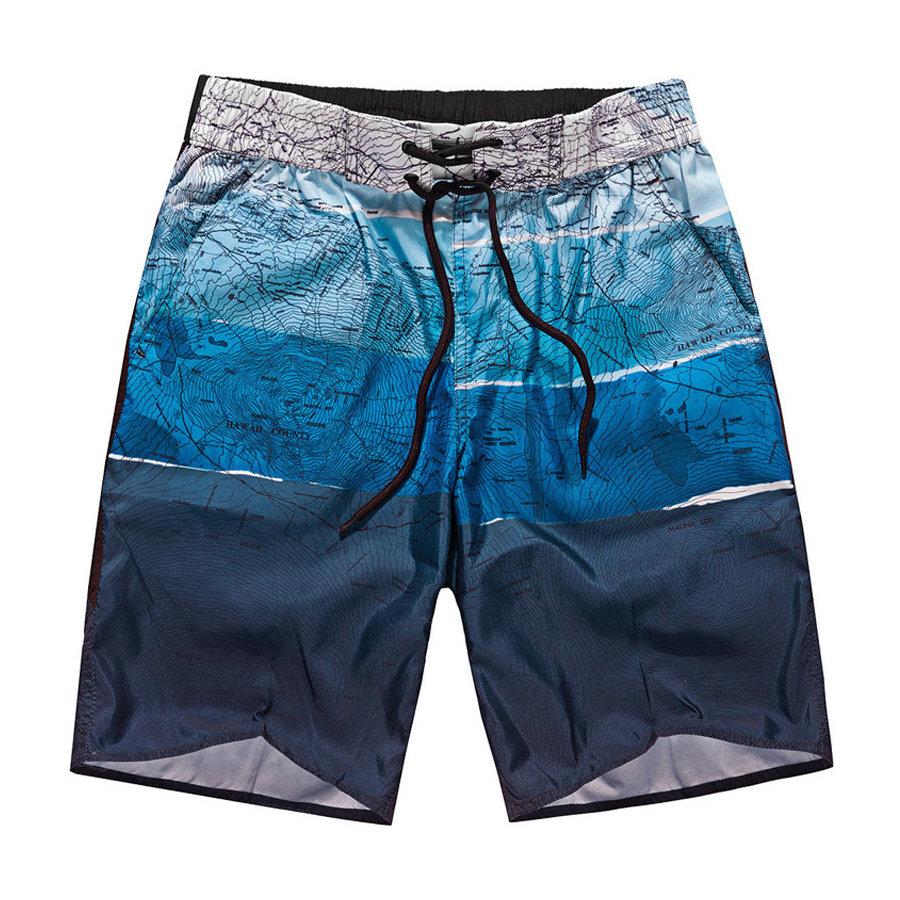 島國必備單品.地圖印花綁帶設計速乾沙灘褲