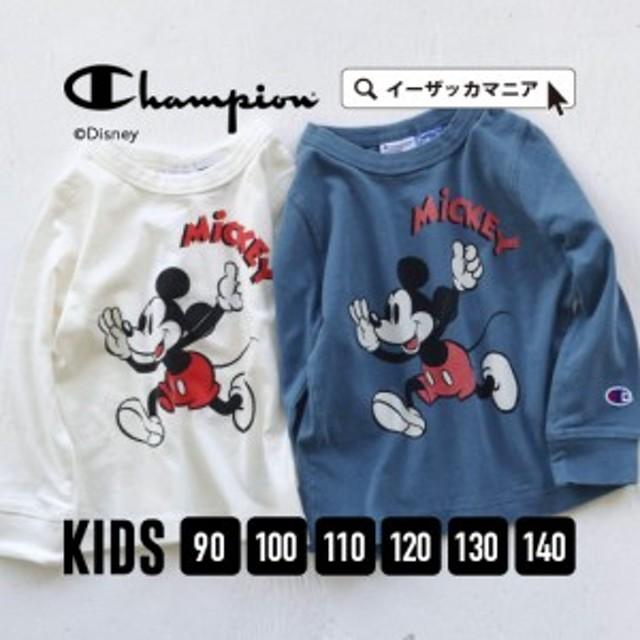 【メール便可17】CHAMPION|キッズ 90-140 子供服 ベビー服 女の子 男の子 ミッキーマウス ディズニー/CHAMPION×MICKY PRINT L/S TEE