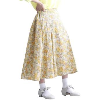 (メルロー) merlot フラワー柄フレアタックスカート1480 868135001480 FREE イエロー
