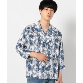 【30%OFF】 シップス SHIPS JET BLUE:アロハ 七分袖シャツ メンズ オフホワイト X-SMALL 【SHIPS】 【セール開催中】